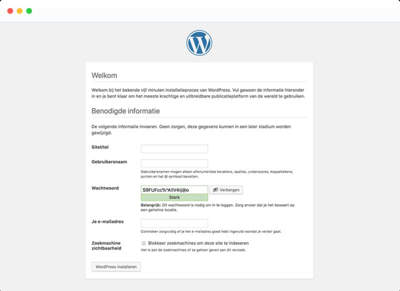 Voorbeeld WordPress installatie scherm