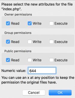 WordPress bestandsrechten via CHMOD