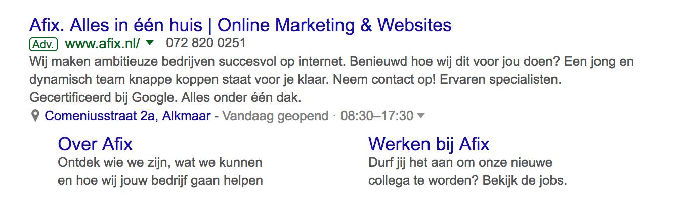 Voorbeeld van een responsive Google Ads tekstadvertentie